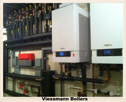 Insulated boiler Watts cross connection control devices and Viessmann Vitoden 200 wall hung boiler system.